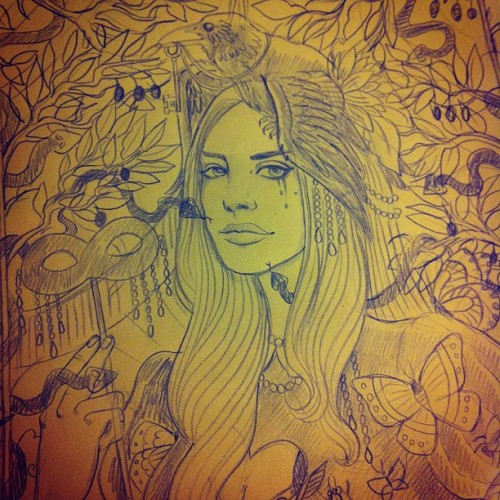 #lanadelrey #pencil work done #portrait #press #illustration #snake #viper #raven #butterfly #crow #key #olive #borntodie #print  (Taken with instagram)