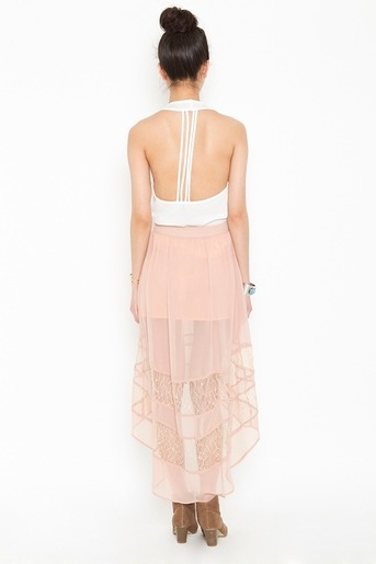 fashionfever:  Laced Tail Skirt - Blush  $58.00