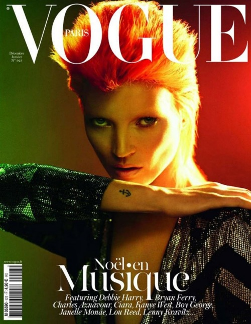 Kate Moss as Ziggy Stardust Vogue Paris December/January 2012 Photographed by Mert Alas and Marcus Piggott Apparently a lot of people hate this cover. I can't see why; to me she's doing a fabulous Ziggy! And I'm not even a fan of Kate Moss, really.