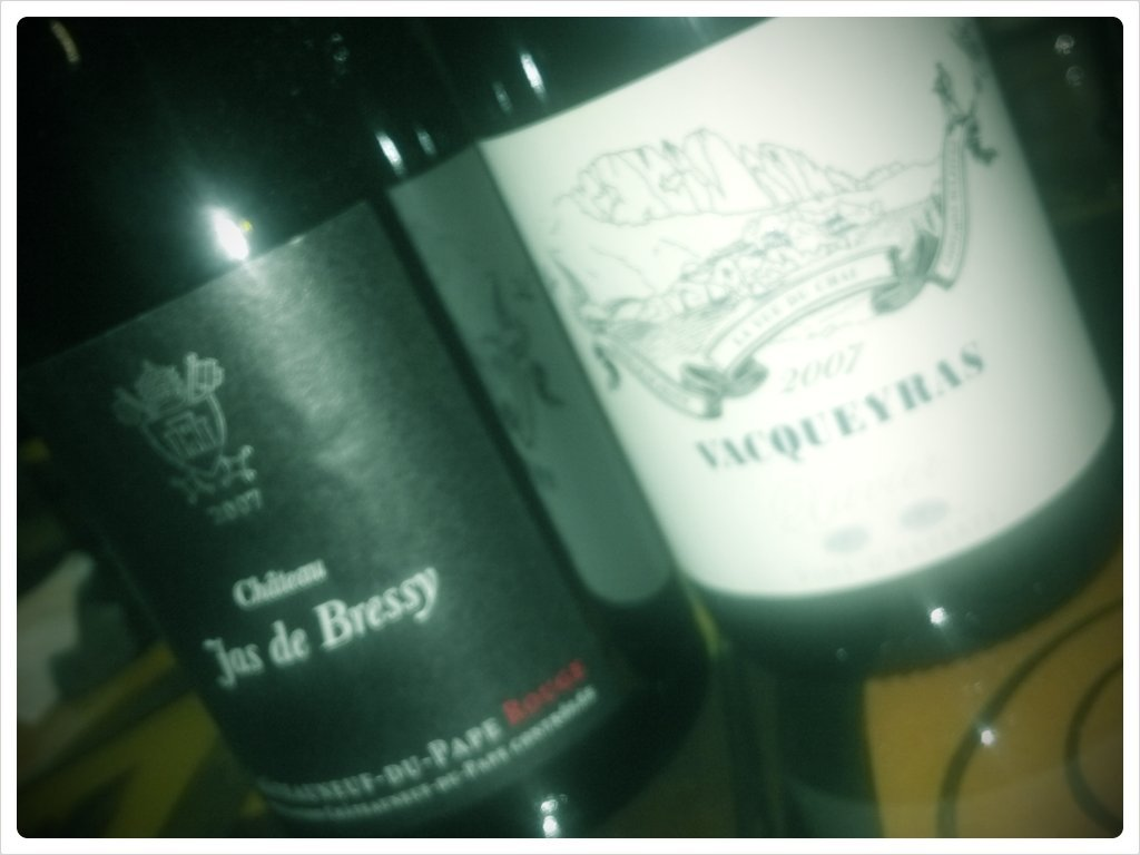 The lineup of Rhone reds for tonight's #winechat (Taken with picplz.)
