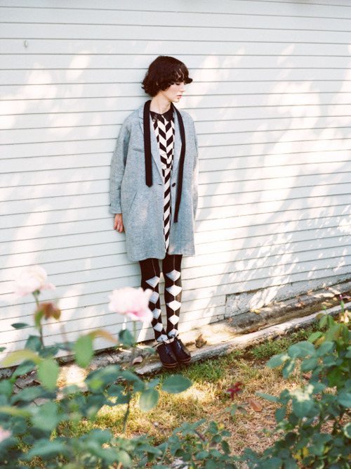 the ever lovely miranda july wearing our hfb textile tights, captured by the talented nicholas haggard.