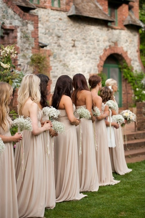 Bridesmaids and baby's breath