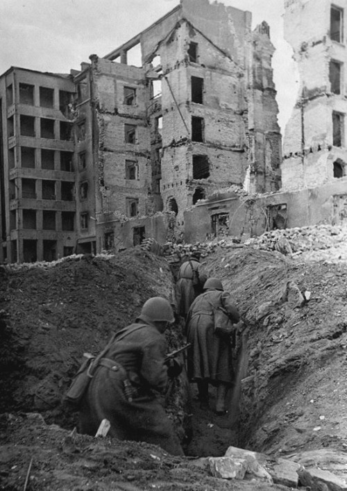 operationbarbarossa:  Soldiers moving through the city trenches in Stalingrad - 1942