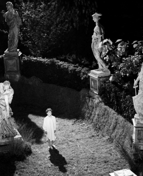 oldhollywood:  The Innocents (1961, dir. Jack Clayton, based on the Henry James ghost story, The Turn of the Screw) (via) What shall I say when he knocks on my door? What shall I say when his feet enter softly? Leaving the marks of his grave on my floor.