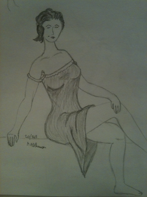 Completed pin up girl. Sketch 20/365 of my 365 Sketch Project.