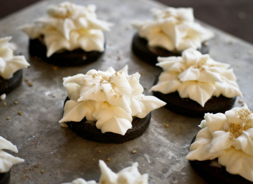 gastrogirl:  dark chocolate cookies with champagne buttercream.