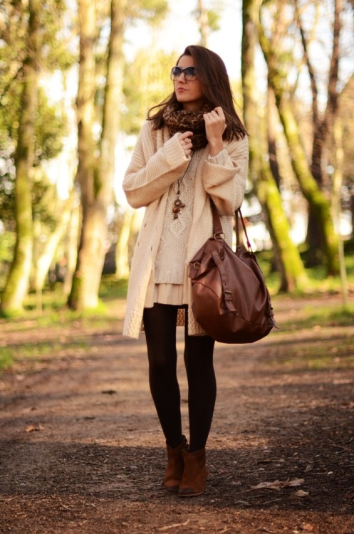 what-do-i-wear:  cardigan jacket: Dresslux, booties: Mango, skirt: Zara, bag: Natura, sweater: Pimkie, necklace: Tabita- Uniccos, foulard: Stradivarius, cookie ring: ABABTABA, sunglasses: Marc by Marc Jacobs new collection – Ópticas Peláez (image: lovelypepa)