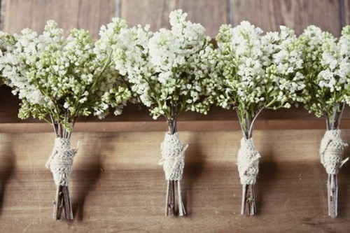 baby's breath bouquets #rustic #wedding