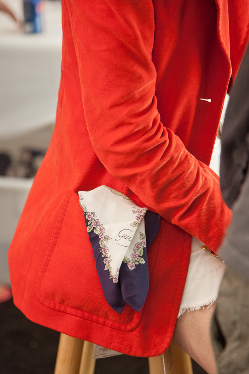 Red Blazer and Gucci Scarf