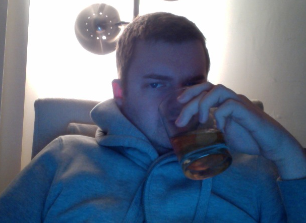 GPOY:  reading James Ellroy/creeping on OKCupid/drinking Ol' Grandad on the rocks edition ALSO, thanks for making the bottom floor of my apartment too honkin' cold, Los Angeles.
