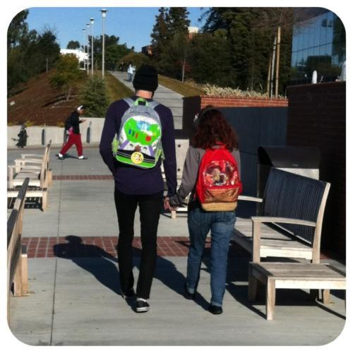 pixarmovies:  A friend of ours randomly took this at school without us knowing…and believe it or not, we have both been wanting a photo like this for a long time :) -He&She Follow our blog at mynameisdug.tumblr.com :) we like followers