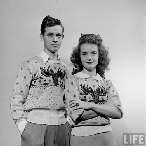 These two might have started the whole Christmas sweater trend…