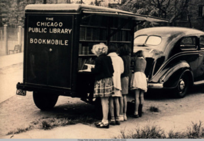 dusktilldawnvintage:  Library on wheels.