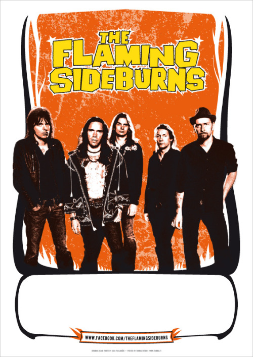 Poster design for Finnish rock band The Flaming Sideburns by Tumma Studio. Original band photo by Jari Paulamäki.