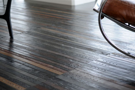 Old Leather Belts Upcycled Into Luxury Flooring When you think of sustainable building materials, leather is  probably not the first textile that comes to your mind. Think again!