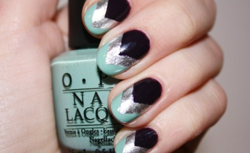 Winter Chevron tape mani by Polish You Pretty. Click the photo to see our full tutorial!