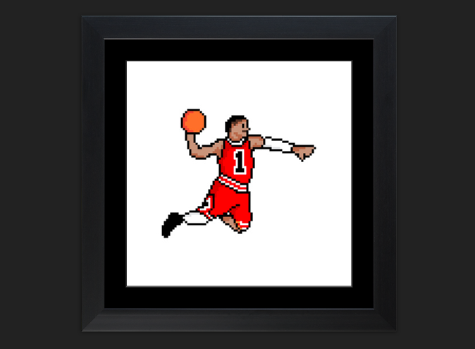 "As per requested, my ""8-Bit Derrick Rose"" is now available for purchase at my new zenfolio store. 8bDRose is printable on apparel, wall art, and coffee mugs. More of my designs will be made available for purchase over the next few weeks. Happy shopping!"
