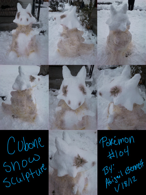 blaznsik:  fypblog:  It finally snowed where I live, so I made a Cubone snow sculpture!  AMAZING.