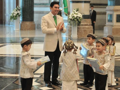 "Turkmenistan's 'White' Revolution Since coming to office five years ago, Turkmen President Gurbanguly Berdymukhammedov has sought to show of his own style of leadership — all the way down to the color scheme. From his clothing to his carpets to the flowers that ornament his public appearances, everything in Berdymukhammedov's world is a gleaming, crystalline white. We look at Berdymukhamedov's own ""white"" revolution…[See the rest of the photos…]"