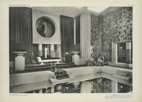 "PoolFrom Ensembles mobiliers (1925) via NYPL Pool in a villa on the Riviera from Ensembles mobiliers. Another design I'd say looks out of a movie. Caption: ""Piscine dans une villa sur la Côte d'Azur, Alfred Levard, architecte, édité par l'Atelier Primavera, conseillé par Ruhlmann et Mme Chauchet-Guilleré"" About the Book  Published in conjunction with the Exposition internationale des arts décoratifs et industriels modernes — the 1925 Paris exposition considered the blast-off point for Art Deco and later the origin of term — Ensembles mobiliers (translation: Furniture sets) is filled with the very latest, most stylish ideas in contemporary interior design. Here are laid out templates for a style that would take the world by storm, from dining rooms to Hollywood musical sets to public spaces."
