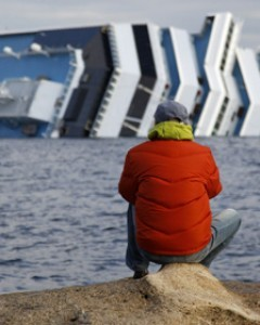 "theweekmagazine:  The capsized Costa Concordia cruise ship is sitting in the middle of the largest marine sanctuary in Italy. The ship is carrying more than 2,400 tons of fuel in 17 tanks, and will take three to four weeks to empty. In the mean time, the ship remains an ""ecological time bomb."""