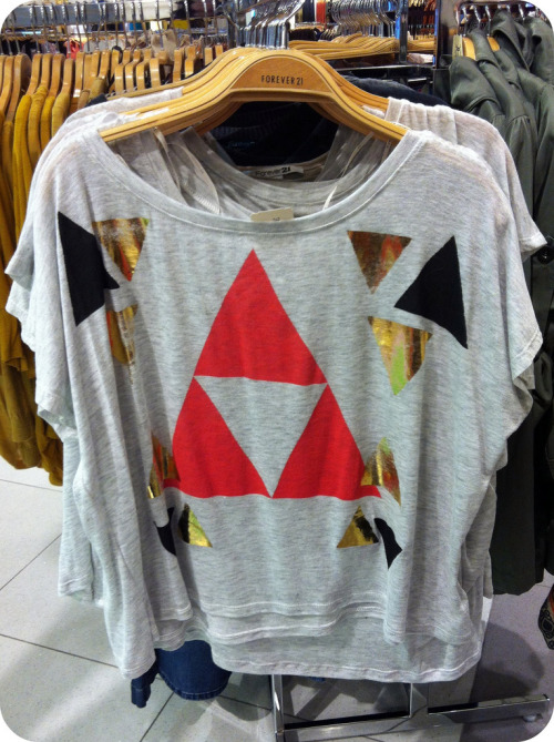 Spotted at Forever 21: an unintentional Triforce? *EDIT* The unintentional Triforce shirt is now available to purchase HERE.