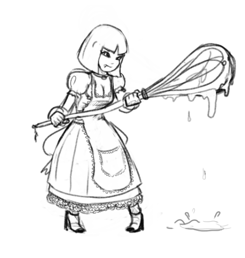 Some sort of Vampire Chef Girl with a giant Whisk club that she uses to both attack and cook and prepare the meals I suppose…What's wrong with you TEEGEE?