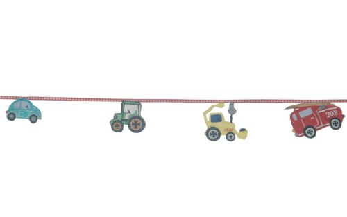 Kids transport bunting with car, tractor, digger and fire engine