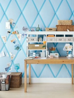 Use walls for storage space. Great #DIY project. Simple and fun. #HomeDecor