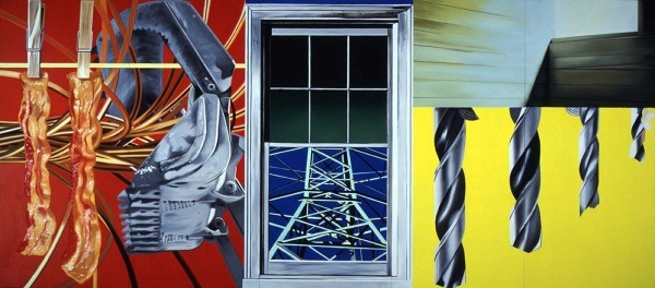 "The art: James Rosenquist, Industrial Cottage, 1977. In which Rosenquist connects America's industrial might to agricultural plenty, such as… mmmm, bacon! The news: ""Mo's Dream: How Bacon Met Chocolate,"" by Dana Goodyear for NewYorker.com. The source: Collection of the Smithsonian American Art Museum, Washington."