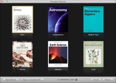 Apple Launches iBooks Author Via iTunes:  Now anyone can create stunning iBooks textbooks, cookbooks, history books, picture books, and more for iPad. All you need is an idea and a Mac. Start with one of the Apple-designed templates that feature a wide variety of page layouts. Add your own text and images with drag-and-drop ease. Use Multi-Touch widgets to include interactive photo galleries, movies, Keynote presentations, 3D objects, and more. Preview your book on your iPad at any time. Then submit your finished work to the iBookstore with a few simple steps. And before you know it, you're a published author.  Caveat: Books may only be sold through the iBookstore; additional terms and conditions apply. Comment: We hoped it would also publish standards-complient ePub formats for wider (read: non-Apple) distribution. But, we're downloading and about to give it a run through. Image: Template chooser when launching the iBooks App.