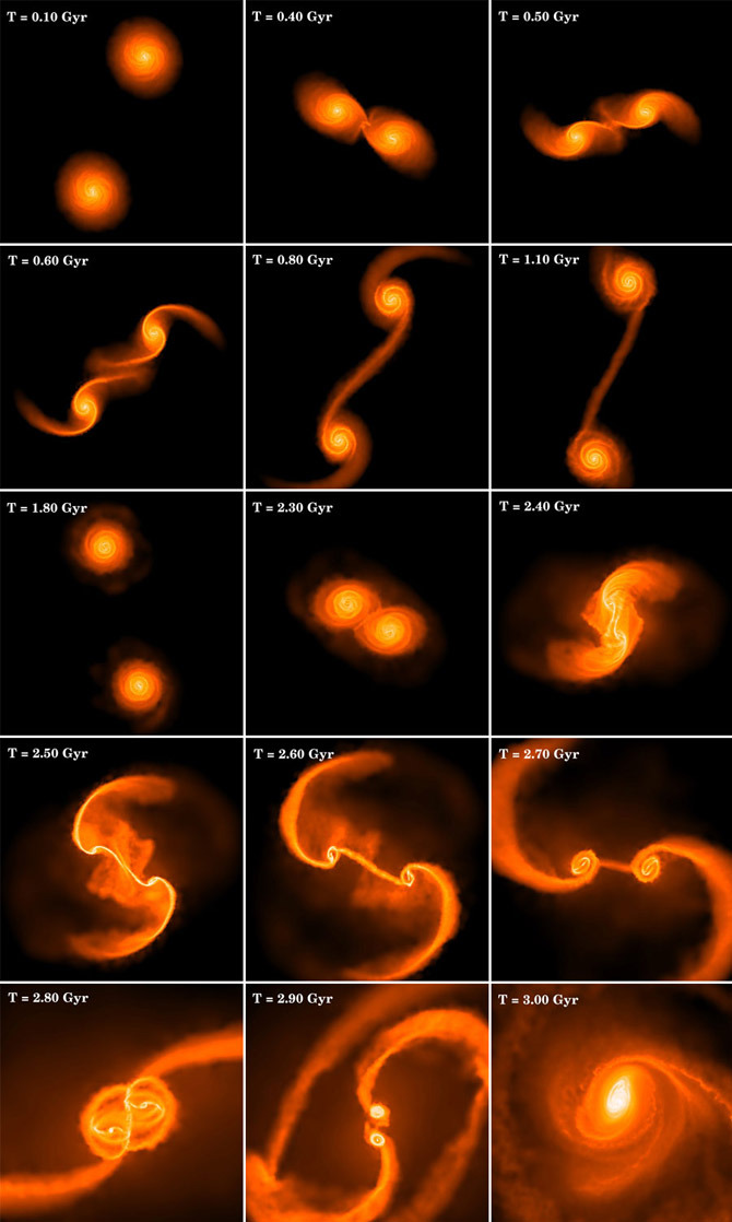 the-star-stuff:  Evolution of two equal sized galaxies colliding and forming a massive cloud of gas that will collapse into black hole.  Credit: Ohio State University