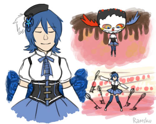 "ramsku:  hoots made me watch puella magi madoka magica and now I can't stop thinking up AUs obligatory ""don't lose your head"" joke here"