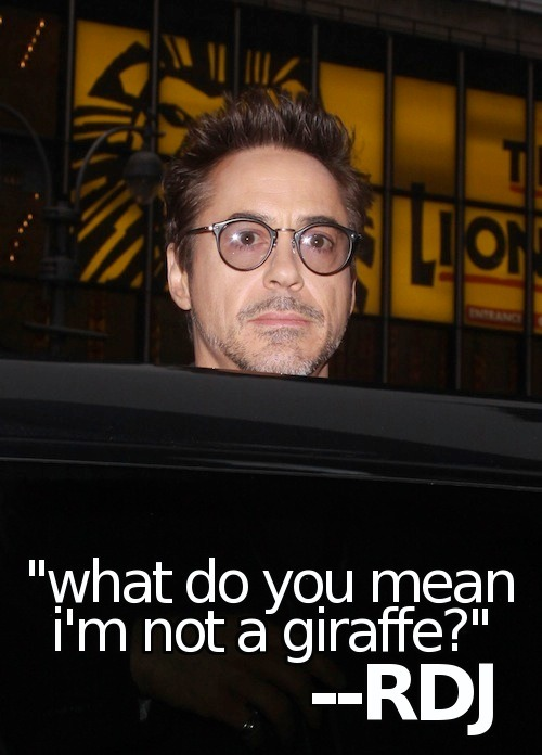 "rdjsaidwhatnow:  ""What do you mean I'm not a giraffe?""  — Robert Downey Jr. (rdjsaidwhatnow)  its quotes like that that makes me positive that is a troll. if he wasn't almost computer illiterate he'd be on this site and he'd love it."