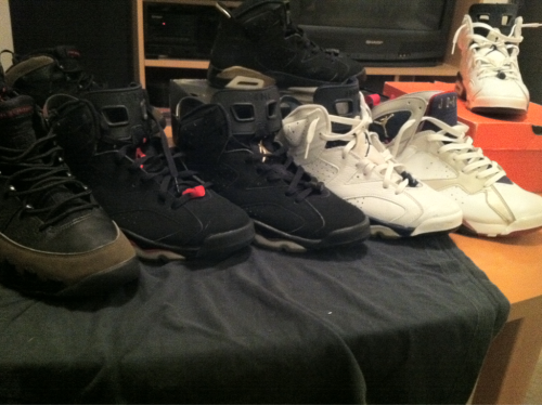 Olive IX's, 2000 Infrared VI's, DMP VI's, Midnight Blue VI's, 2004 Olympic VII's. A lot of people claim they have heat, but they don't. Just saying.