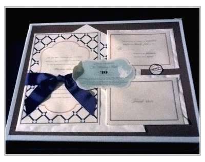 So I'm sadly selling my invitation kits…  NIP. The Wedding Studio Kit by Anna Griffin Print it yourself wedding paper trousseau Includes: - 30 wedding invitations & envelopes - 30 reply cards - 30 thank you notes - 30 envelope seals - test sheets for easy printing - layout and wording ideas - keepsake box Item # WS217 Navy Harlequin  great DIY ..  I bought these on sale for $25 a pack from Michael's because I loved them, now we are having a larger wedding and they have been discontinued.   Great for a nautical themed wedding (that was our idea)!  5 packs (30 sets in each) = 150 total  Never been opened.   Print out on any computer printer.   Asking $20/pack or $80 for all 5 packs, they were just purchased for $125 +tax (13%)