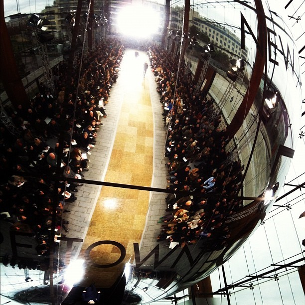 A giant silver globe above the catwalk and music by Giorgio Moroder