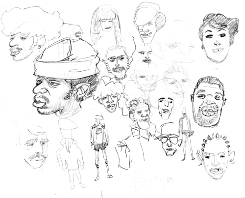 Character doodles made while watching 80 Blocks from Tiffany's