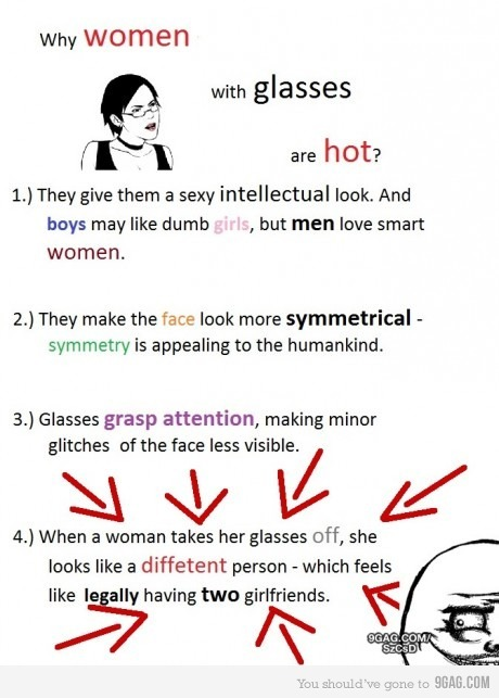 9gag:  Women with glasses  TWO WOMEN