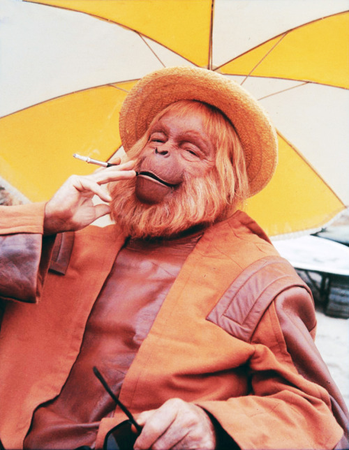 Dr. Zaius on the set of Planet of the Apes (1968)
