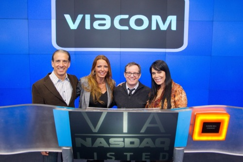 nasdaq:  The cast of Mob Wives recently stopped by to ring the closing bell! From left to right: Viacom's Music and Logo Group President Van Toffler, Drita D'Avanzo of Mob Wives, VH1's President Tom Calderone and Mob Wives' Renee Graziano.