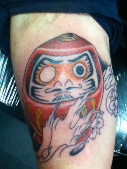 Probably my first and last daruma doll tattoo as no one in Ely even knows what they are.