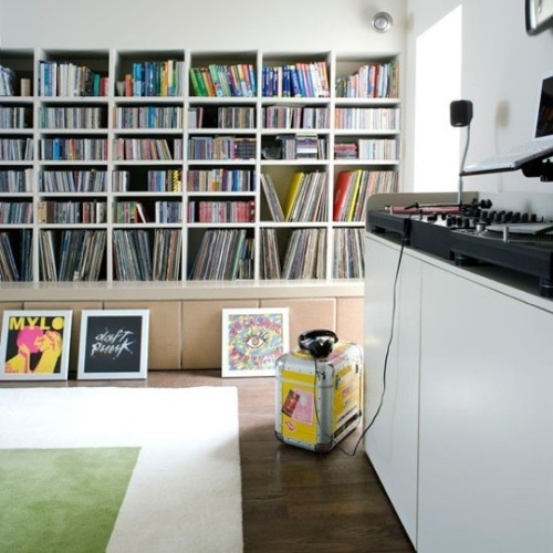 myidealhome:  records and books storage (via Organization Inspiration: Media Storage)