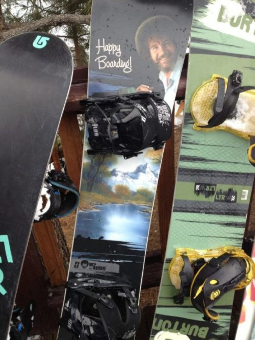 "Bob Ross Snowboard   ""Let's add a happy little half pipe over in the distance."""