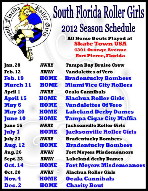 South Florida Roller Girls bout schedule