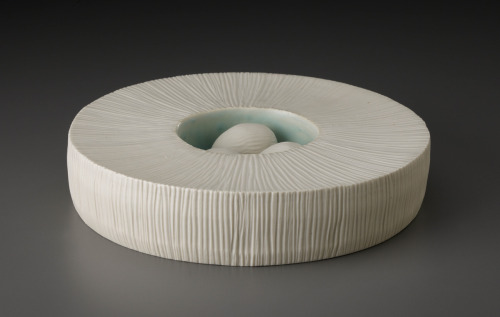 "Suzanne Stumpf: Nest with Eggs V, 2011, 9""w x 2""h, wheelthrown with handbuilt components; porcelain; oxidation fired to cone 10"
