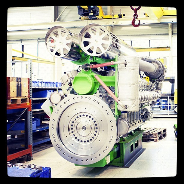 A Jenbacher gas #engine at our #manufacturing facility in Jenbach, Austria. #GE #technology (Taken with instagram)