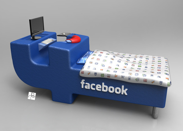 "thedailywhat:  We Sleep In Public of the Day: The ""FBed"" is a design concept by Croatian graphic designer Tomislav Zvonarić that allows you to ""always to be up to date and close to your online friends even when you sleep."" The bed comes complete with a built-in Facebook terminal that lets you begin posting status updates as soon as you wake up. Or just before you go to sleep. Or while you're spending all day in bed because why get up. ""The greatest trick the devil ever pulled was to convince he was a Facebook-themed bed."" [behance.]"