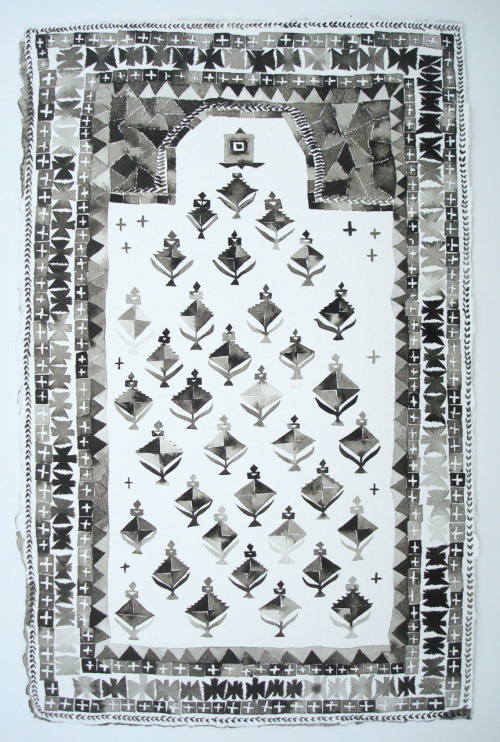 """Small Black and White Daghestan Rug,"" ink on paper, 11.5x18.5, 2011 Tomorrow morning I'm off to Chicago for the opening reception of ""20 in their 20s,"" a group show at Woman Made Gallery in which I'm exhibiting ""Kuba Carpet with Radio and Transmission Tower Imagery."" This painting, like the one shown above, is a part of my series of paintings of Oriental carpets. Unfortunately, FedEx thoroughly trashed the frame during shipping. Nonetheless, my unframed painting will be shown from January 20th - February 23rd. Check it out if you're in the neighborhood. Woman Made Gallery: 20 in their 20s I'll be back to Tumblr-ing on Monday!"