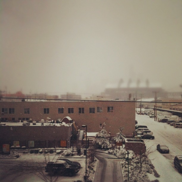 Can you make out downtown #seattle through this #snowstorm? (Taken with Instagram at zulily HQ)
